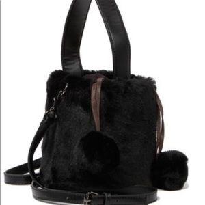 Pink Haley Faux Fur Bucket Bag
